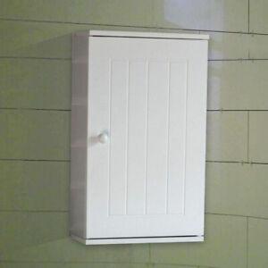 White Wall Cabinet Cupboard Wall Mounted Single Door Cupboard Wooden Storage
