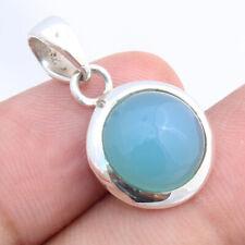 "Aqua Chalcedony 925 Sterling Silver Pendant Jewelry S 25"""