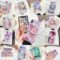 For iPhone 11 Pro Max XS XR 6s 7 8 Plus Shell Flower Holder Soft TPU Case Cover