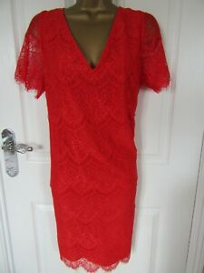 """Monsoon Size UK-16 Lined Red Lace shift  Dress very Pretty.Bust 42"""""""