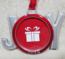 """CHRISTMAS TREE BALL ORNAMENT JOY PHOTO PICTURE 2019 2"""" RED FRAME EXCLUSIVE"""