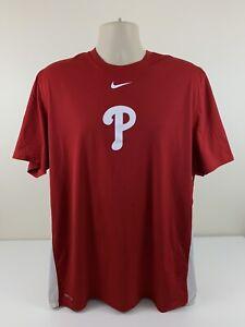 Nike Philadelphia Phillies Red Shirt Men's Size XL Dri Fit MLB Baseball Used