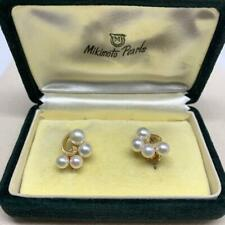VINTAGE MIKIMOTO LADIES 14 KT GOLD AKOYA PEARL EARRING BEAUTIFUL 021519-E1