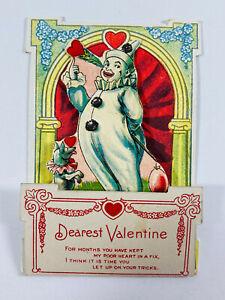 Antique vtg Valentines 50 German Diecut Card Clown Circus Sideshow Carnival