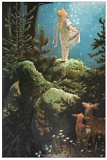 Vintage Repro Postcard:Fairy Tale - Girl in Forest, Moon, Stars, Deer - Grimm