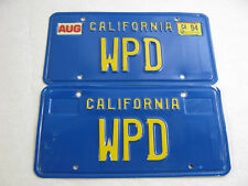 WPD (See List of Agencies) 70's era Personalized California License Plates