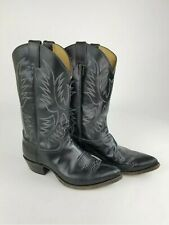JUSTIN STYLE  2040 Black Leather Western Style Cowboy Boots Men's Size 9.5 D