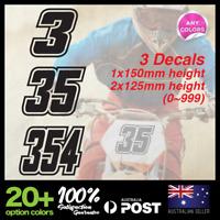3x Custom Dirt Bike Plate MX Racing Number Motorcross Kart Decal Sticker TYPE#10