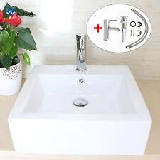 Modern Bathroom Rectangle Porcelain Ceramic Vessel Sink Chrome Faucet&Drain Set