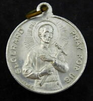Saint St Gerard Pray for Us Medal Vintage Our Lady of Perpetual Help Aluminum