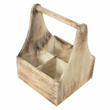 4 Bottle Wooden Wine Storage Crate Holder with Handle Rustic Store Cabinet Rack