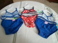 Baby Buns Toddler Girls 1 PC Multi Birdie /& Flower Print Swim Suit Swimming