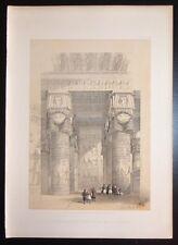 David Roberts Authentic 1856 Quarto Lithograph Pl. 194 Temple of Dendera Portico