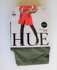 NWT $24 HUE 40 Denier Opaque Control Top Army Green Women's Tights Size 4