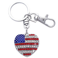 Independence Day gift American USA Flag Design Heart Charm Key Chain Ring k28