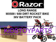 NEW! 36V LONG RANGE BATTERY PACK Razor MX650 & MX500 Dirt BIKE W/ Harness