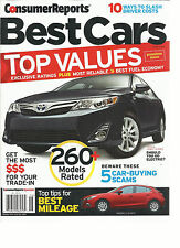 CONSUMER REPORTS  BEST CARS,  JUNE, 2014   ( TOP VALUES * 260 MODELS RATED *