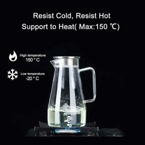 1.8L Glass Pitcher Water Glass Jug Milk Juice -20~150°C Stainless Steel with Lid