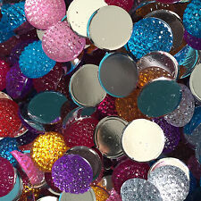DIY 100PCS Mix 12mm round Resin Rhinestone Flatback Scrapbook Jewelry Making