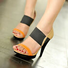 Womens Elastic Open Toe Stiletto High Heel OL Shoes Platform Sandals Pumps En14