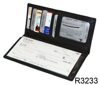Black Leather ID Card  Clutch Checkbook Cover Men Lady Wallet New