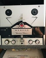 Vintage Webcor MUSIC MAN Deluxe Reel 2 Reel Recorder & Original Mic: WORKS!