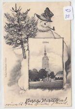 208, Lübben Weihnachten Rahmen Karte mit Schneemann gelaufen 1905 !