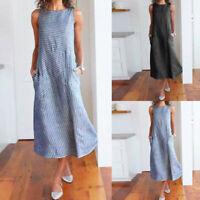 Fashion Women Striped Sleeveless Dress Crew Neck Linen Pocket Long Dress DZ