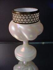 """8"""" Ht. Kralik Art Glass Mother of Pearl Spiral Vase w/Trim Art Nouveau Czech"""
