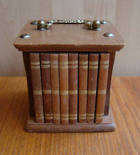 8 vintage original wooden cork coasters in case with handle to look like books