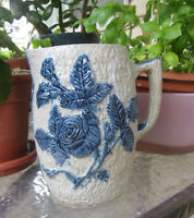 WHITES of UTICA NY Wild Rose Pitcher #18 Cobalt Salt Glaze Stoneware