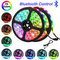 LED Strip Lights 5050 5V RGB Color Change Bluetooth APP Remote TV Back Light US