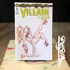 Harley Quinn VIllain Of The Year #1 Sexy Original Sketch Cover Pin Up in Glass