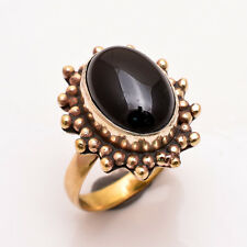 Natural Black Onyx Gemstone Ring Size US 9.5, Antique Brass Jewelry BRR127