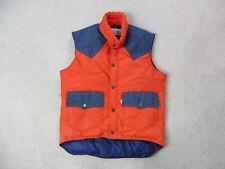 VINTAGE Levis Vest Adult Medium Orange Blue Denim Jean Ski Puffer Mens 70s *