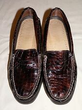 2d55ced1e3e Sperry Top Sider Bronze Patent Leather Croc Print Penny Loafers 8.5 M