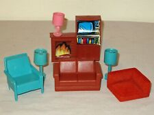 Vtg Lot 7 Plastic Dollhouse Miniature Furniture pink turquoise lamps MPC