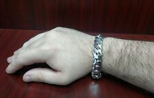 """9"""" Solid Sterling Silver Cuban Link Bracelet, 14 mm 100 grams"""