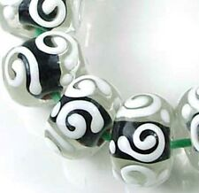 LAMPWORK Glass Black White Raised Scroll Rondelle (12)