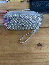 Small Beaded Silver Clutch Bag