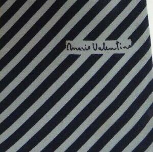 Vintage Skinny Blue Gray Striped Silk Tie