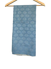 Silk blend, floral print light blue water Shawl/Scarf Hand Made in Nepal