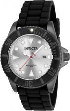 New Mens Invicta 90307 Pro Diver Silver Dial Black Rubber Strap Watch