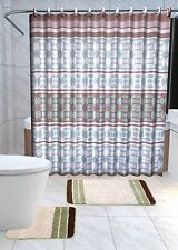 13Pc Laure Sage Waves Printed Design Bathroom Fabric Shower Curtain Set Hook