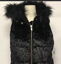 NWT Michael Kors Basics Velvet Vest With Faux Fur Hood Black XS $175