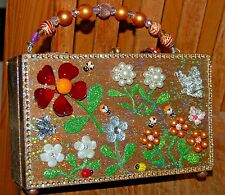 Floral Garden Party Wood Box Purse Thats Just Crazy! Handbag Ooak Usa Butterfly