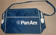 vintage 1960/70s pan am airlines blue travel flight bag with small panam logo