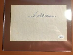 TED WILLIAMS Autographed Note Page Cut Signature JSA Letter of Authenicity