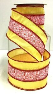 """Cotton Sheer Medallion Wired Ribbon~Yellow, Pink Tones~2 1/2"""" W x 10 yd"""