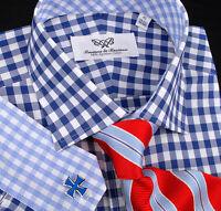 Mens Blue Formal Business Dress Shirt Top 10 Gingham Checkered Stylish Fashion $